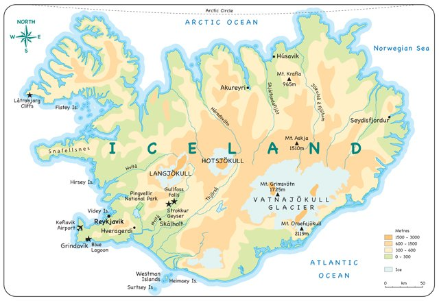 Professional mapping service bespoke maps for web sites and maps printed in a childrens educational from a series of educational books this one shows children physical features in iceland gumiabroncs Gallery